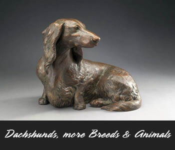 Dachshund and other Canine Bronze Sculpture by Sculptor Joy Beckner