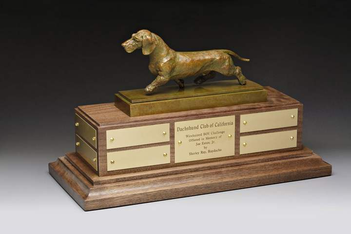Dachshund Club of California Bronze Sculpture Trophy by Sculptor Joy Beckner