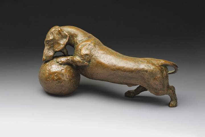 Life's a Ball! 1:6 Scale Smooth Dachshund Bronze Sculpture by Joy Beckner