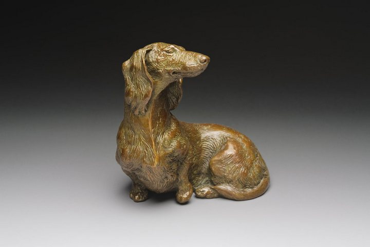 So Good To See You 1:6 Scale Long Dachshund Bronze Sculpture by Joy Beckner