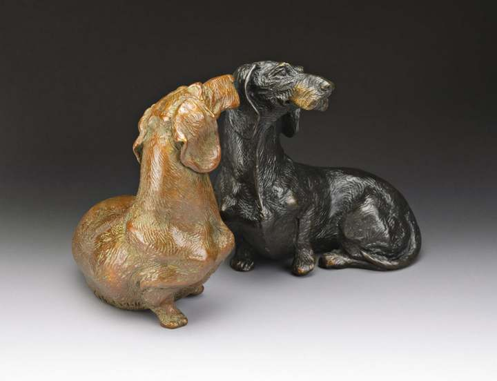 So Good To See You 1:6 Scale Wire Dachshund Bronze Sculpture by Joy Beckner