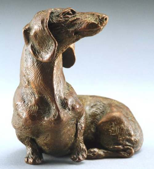 So Good To See You 1:6 Scale Smooth Dachshund Bronze Sculpture by Joy Beckner
