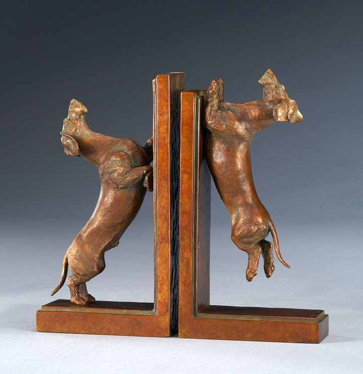 Squirrel Season 1:6 Scale Wire Dachshund Bronze Sculpture Bookends by Joy Beckner