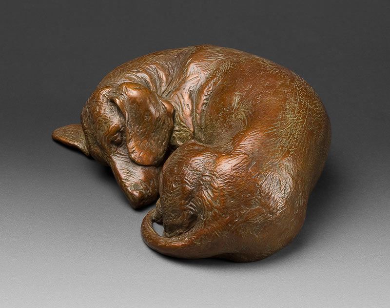 Sweet Dreams 1:6 Scale Tan Dachshund Bronze Sculpture by Joy Beckner