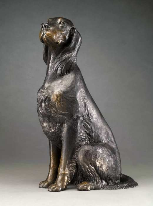 Big Heart bronze Gordon Setter sculpture by Joy Beckner