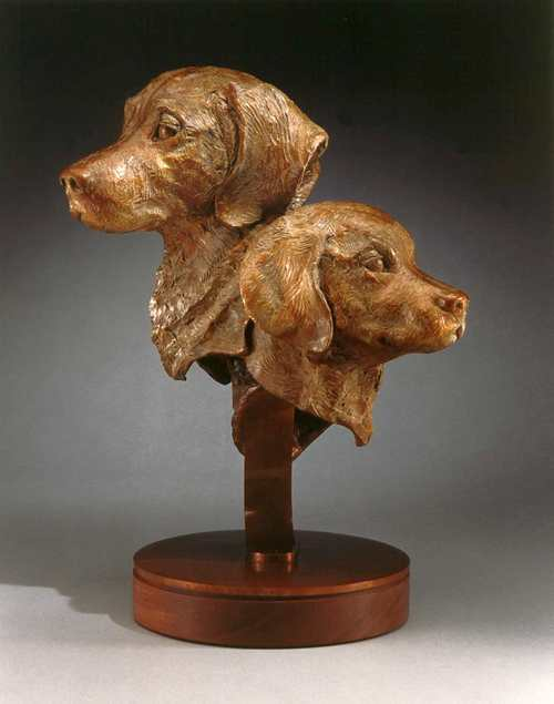 Three Faces of Guineverebronze Golden Retreiver commissioned sculpture by Joy Beckner