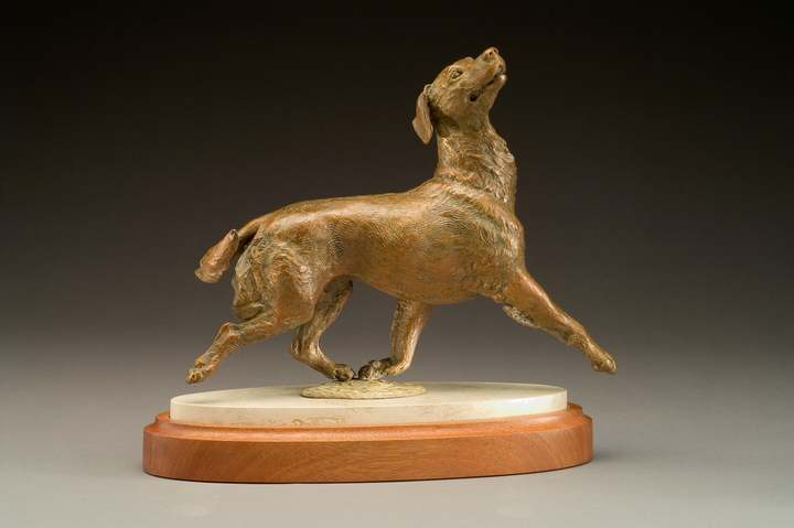 bronze Golden Retreiver commissioned sculpture by Joy Beckner