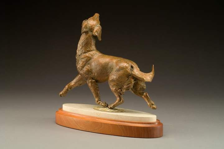 bronze Golden Retreiver sculpture by Joy Beckner back view