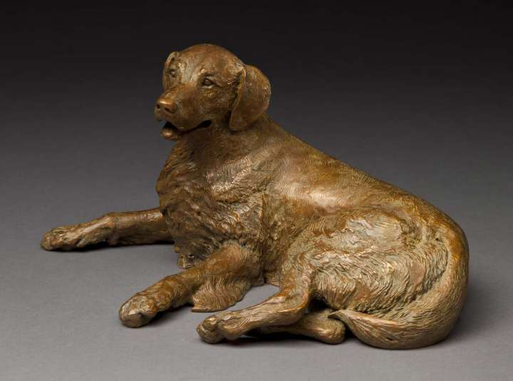 Merry Sunshine canine sculpture in bronze view 3