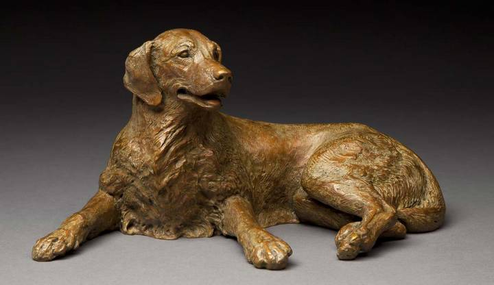 Merry Sunshine Golden Retriever bronze sculpture by Joy Beckner