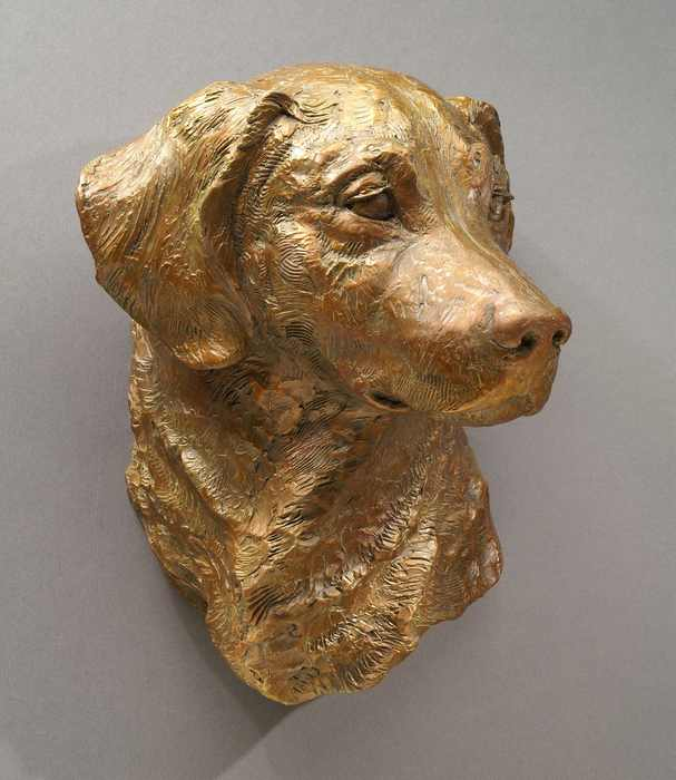 Over the Rainbow bronze Golden Retreiver commissioned sculpture by Joy Beckner