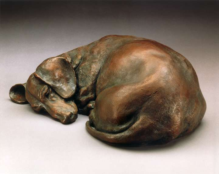 Dreaming of Tomatoes SS life-size bronze Dachshund sculpture by Joy Beckner