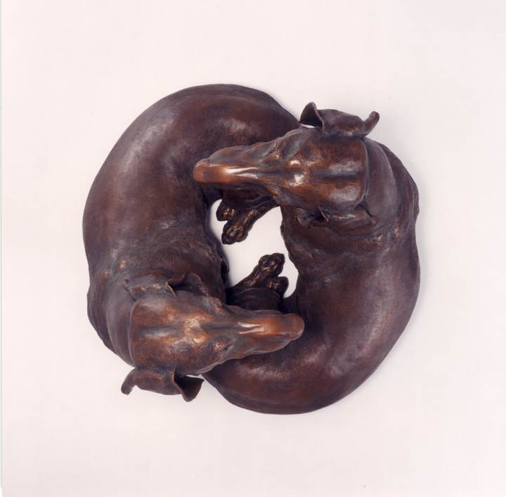 So Good to See You, SS; Life-sized Smooth Dachshund Bronze Sculpture by Sculptor Joy Beckner