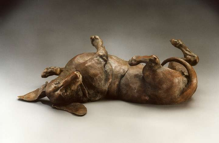 A Good Life, MS; Life-sized Miniature Smooth Dachshund Bronze Sculpture by Sculptor Joy Beckner