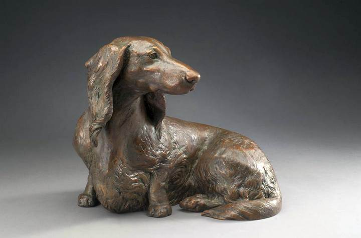 So Good To See You, ML Life-sized Miniature Long Dachshund Bronze Sculpture by Sculptor Joy Beckner