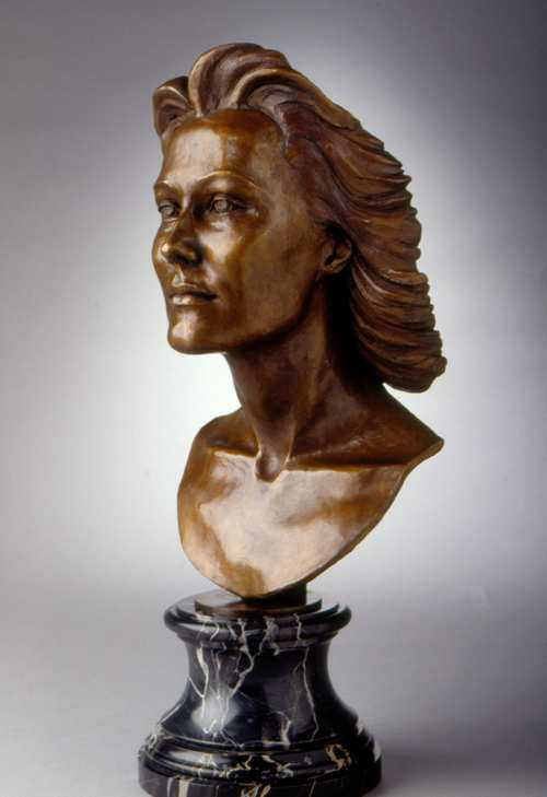 Fascinator bronze figuative sculpture of humans by Joy Beckner