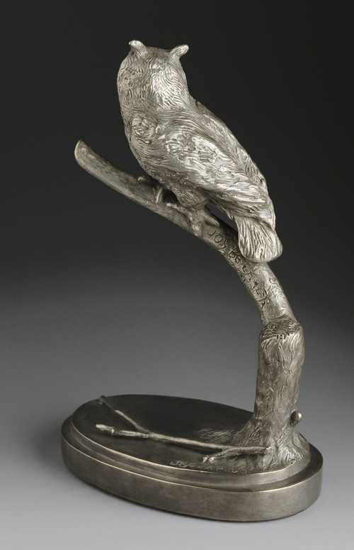 Owl sculpture in bronze The Eyes Have It! by Joy Beckner bronze sculptor